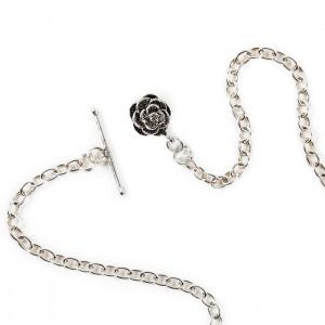 Boutonnière chaîne argent fleur !