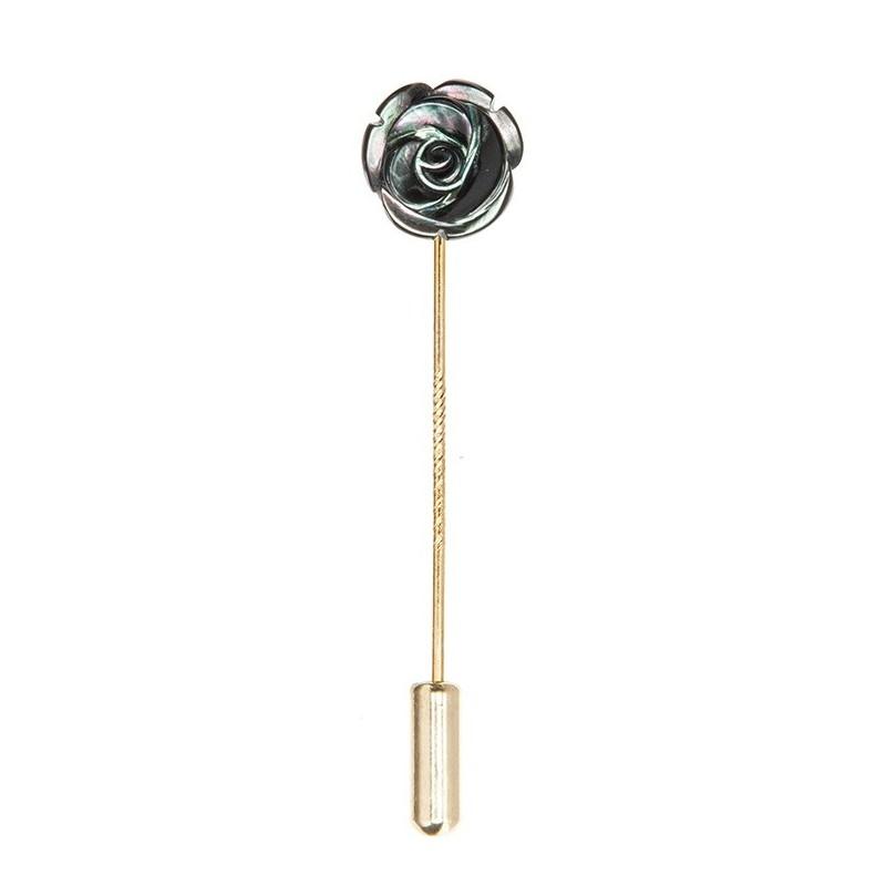 Boutonnière-rose-nacre-noir